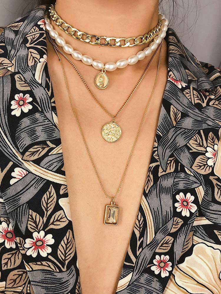 Vintage Multilayer Pearl Beaded Women Necklace Coins Gem Pendant Sweater Chain