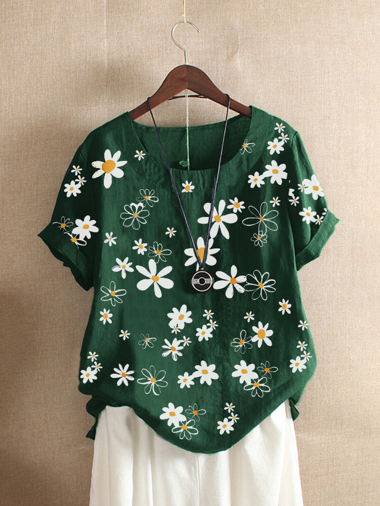 Floral Print Crew Neck Short Sleeve T-shirt For Women