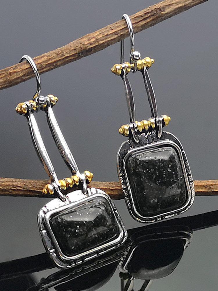 S925 Alloy Natural Stone Black Turquoise Geometric Earrings Bag-shape Long For Women