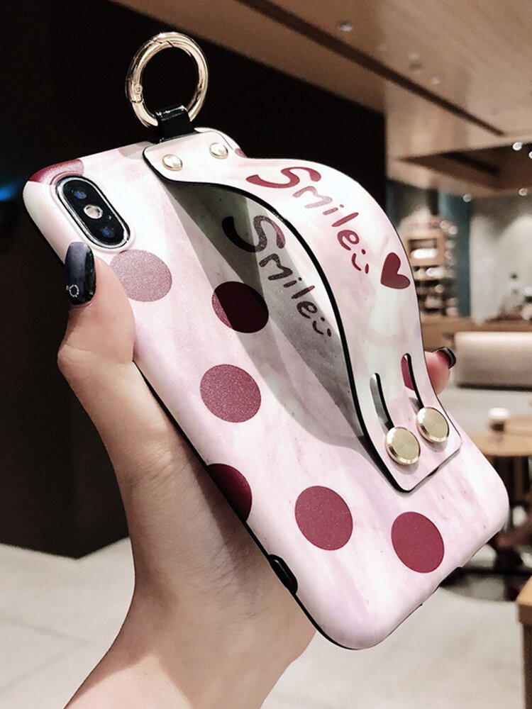 Women Retro Silica Gel Soft Phone Case With Wrist Strap Bracket Back Cover Anti-fall For iPhone