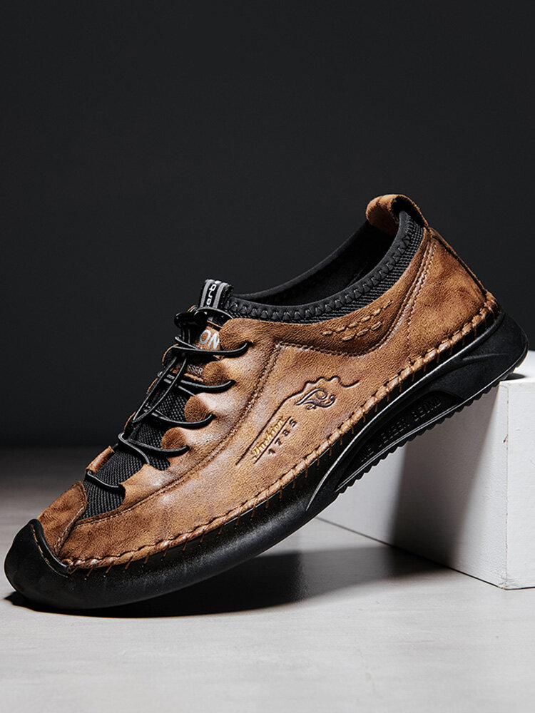Men Genuine Leather Hand Stitching Non Slip Elastic Lace Casual Shoes