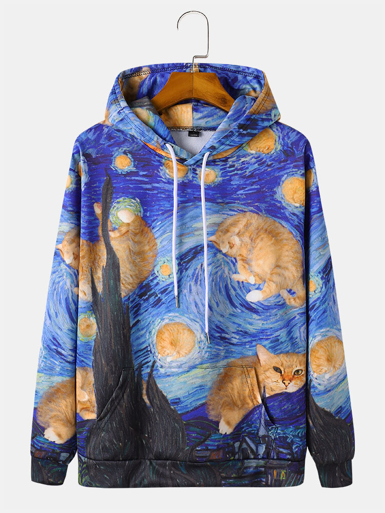 Mens All Over Cat Painting Print Drawstring Pullover Hoodies With Pouch Pocket