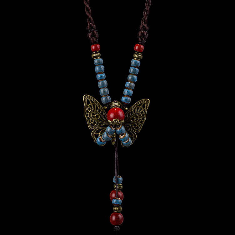 Bohemian Butterfly Pendant Chain Ethnic Long Rope Flower Bead Necklace for Women