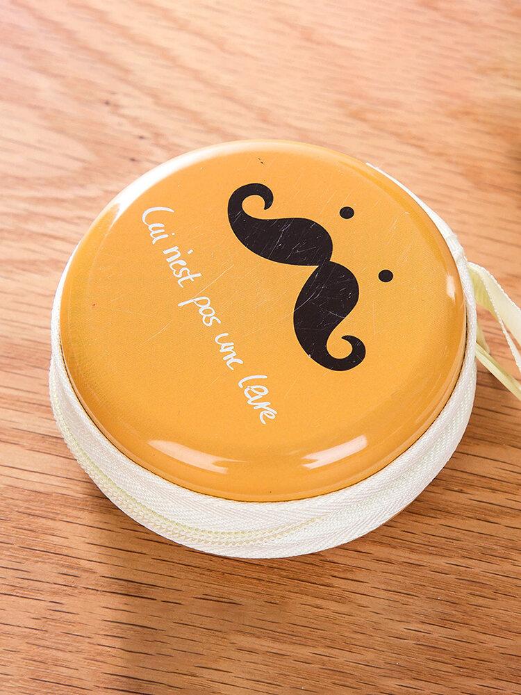 Creative Cartoon Round Coin Purse Iron Bearded Mini Portable Key Headset Bag