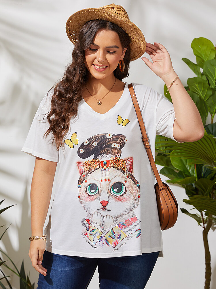 Cartoon Cat Butterfly Print V-neck Short Sleeve Plus Size Casual T-Shirt for Women
