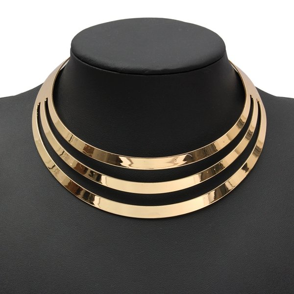 Metal Multi Layer Choker Bib Collar Necklace