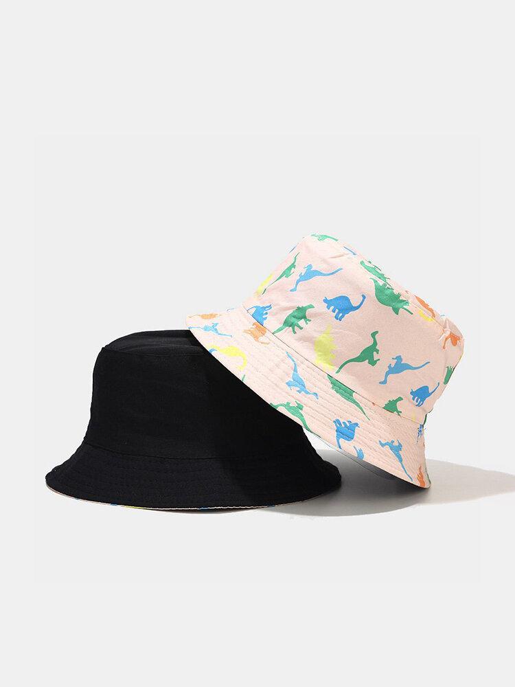 Cappello a secchiello da donna a due lati in cotone con stampa dinosauro