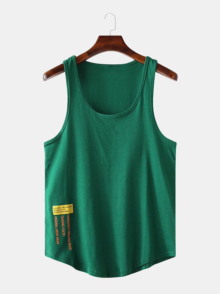 Mens Cool Cotton Simple Round Neck Sleeveless T-Shirts