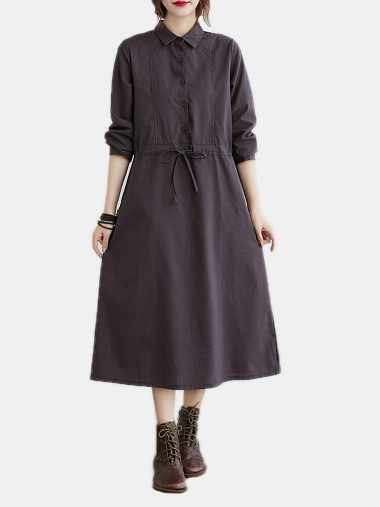Solid Color Button Long Sleeve Drawstring Casual Dress for Women