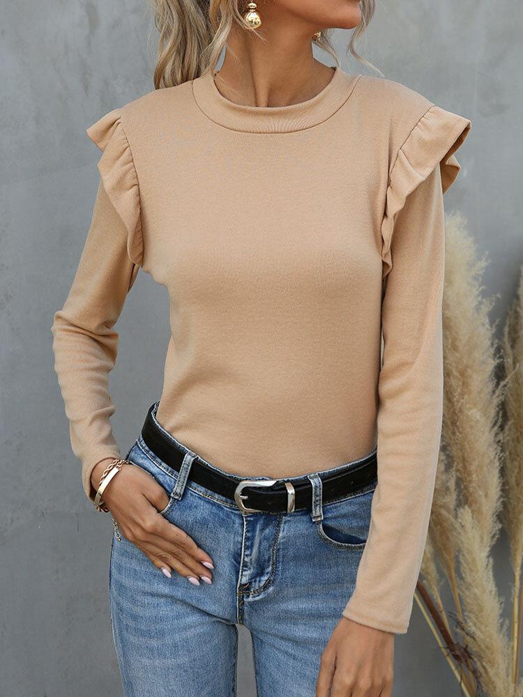 Solid Ruffle Patchwork Long Sleeve O-neck Women T-shirt