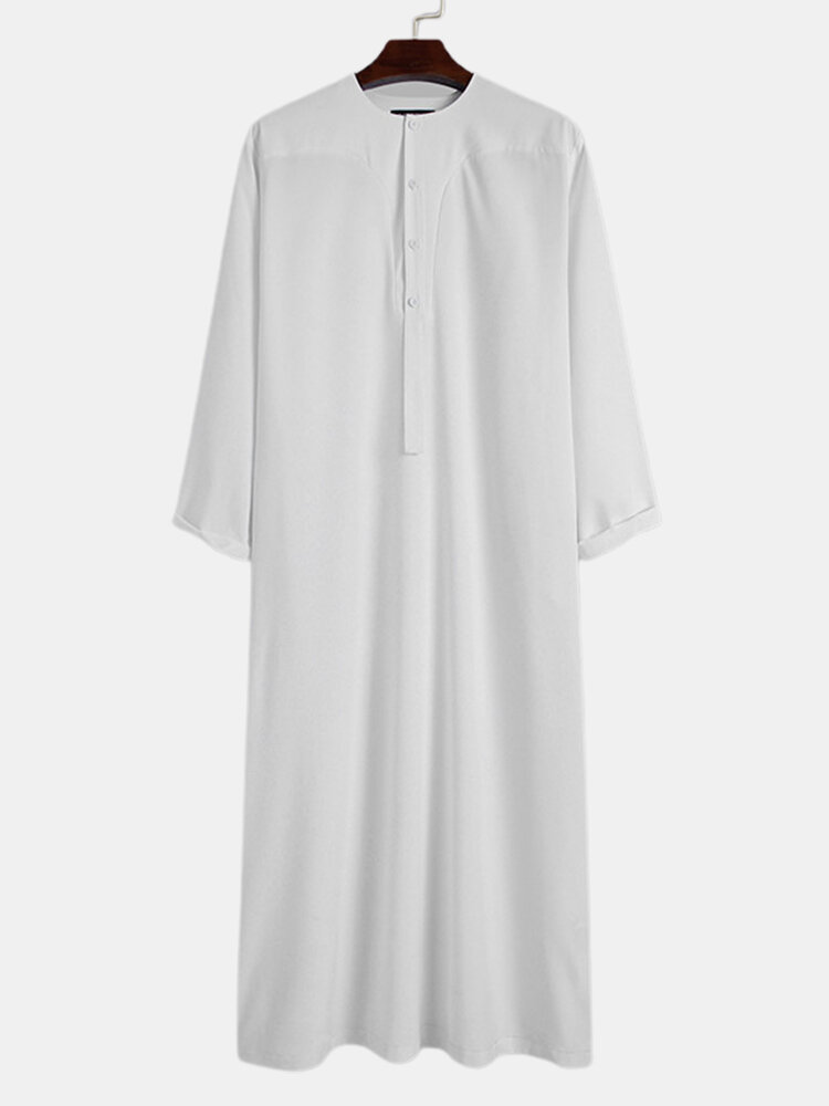 Plus Size Mens Solid Color Half Button Casual Long Sleeve Kaftan Robe