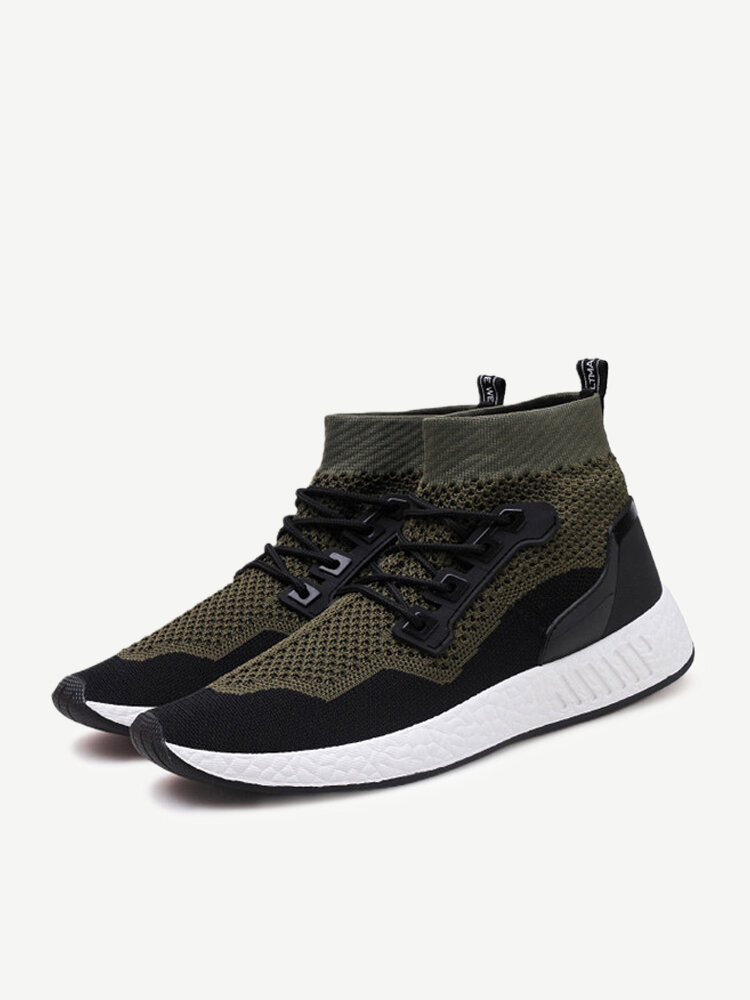 Men Knitted Fabric Super Breathable Sports Running Sneakers