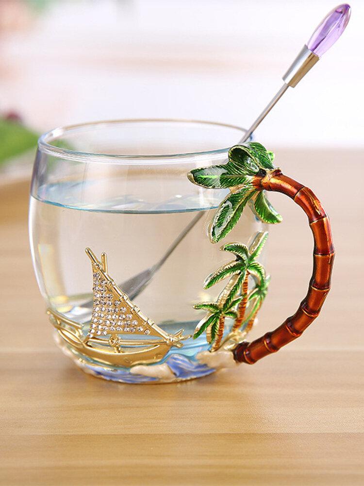 Glattes Segelbecherglas Business-Geschenkglas mit Griff Exquisite Emaille-Teetasse