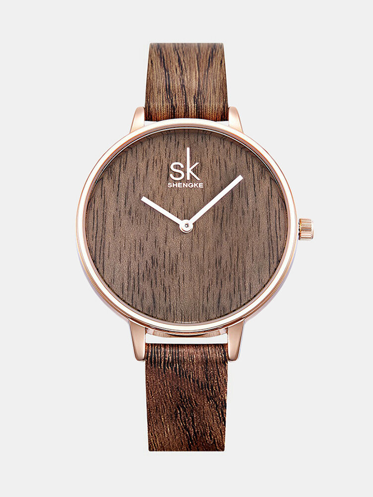 SK Vintage Quartz WristWatch Simple No Numbers Leather Strap Watch Vintage Jewelry for Women