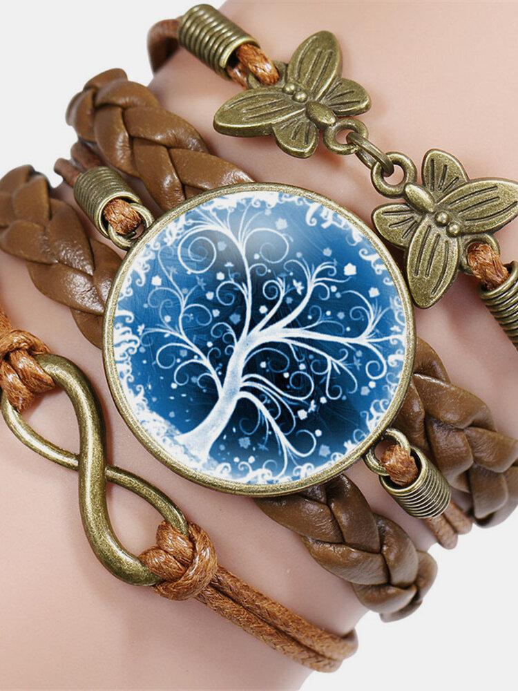 Vintage Tree Of Life Theme Pattern Butterfly Geometric Shape Hand-braided Glass PU Alloy Multi-layer Bracelet