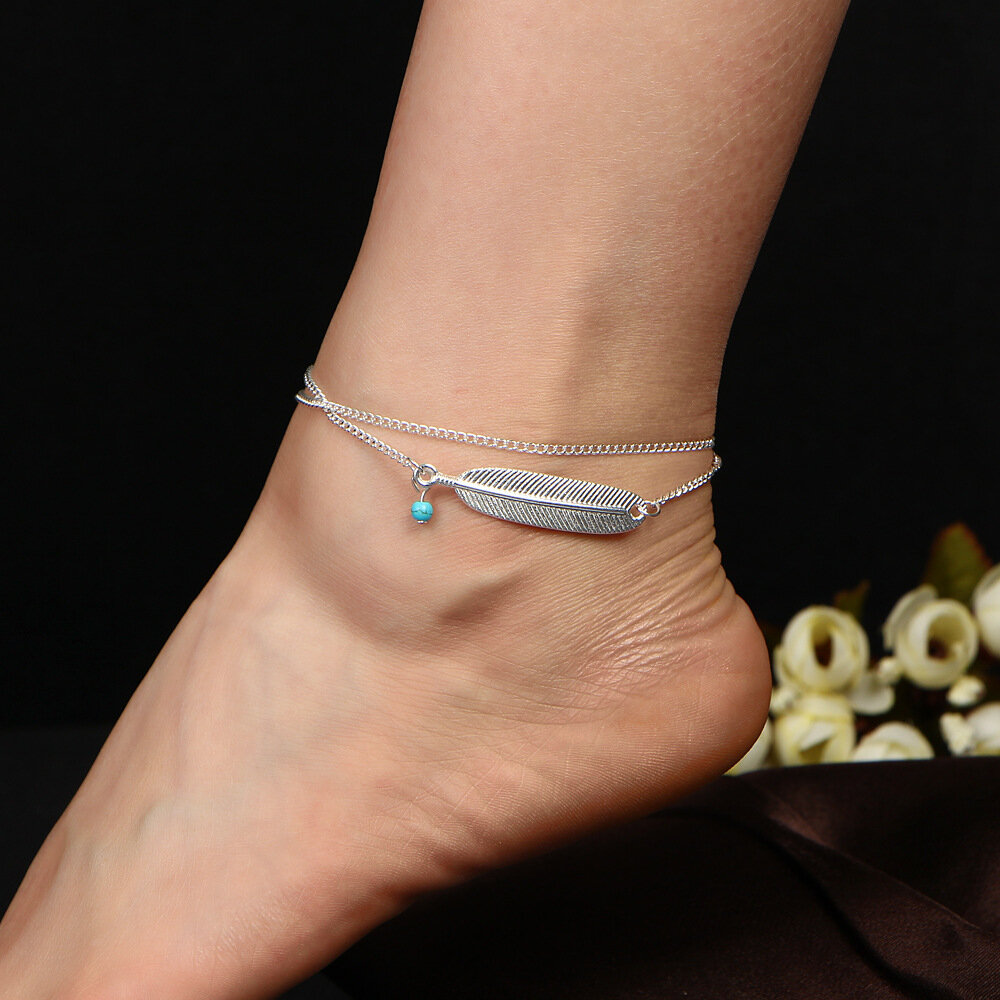 Bohemian Summer Beach Womens Anklet Feather Turquoise Charm Multilayer Ankle Bracelets Rings