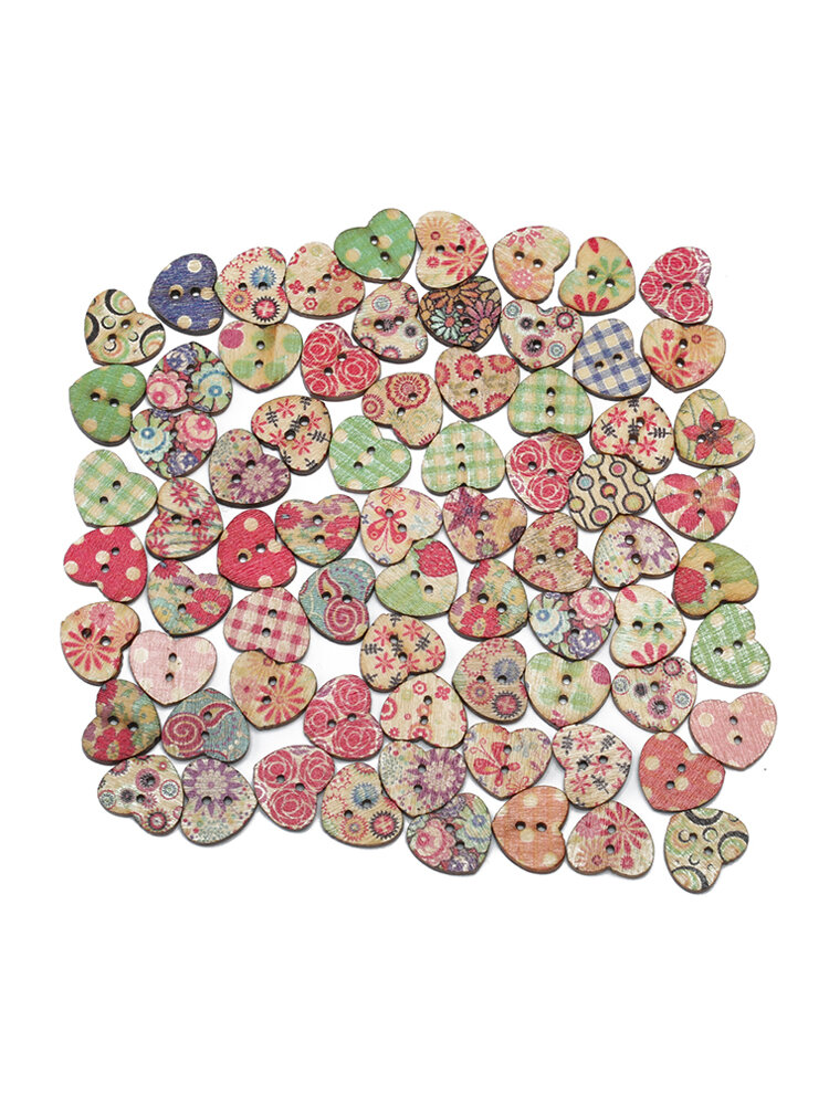 100Pcs Heart-shaped Wooden Sewing Buttons DIY Craft Bag Hat Clothes Decoration
