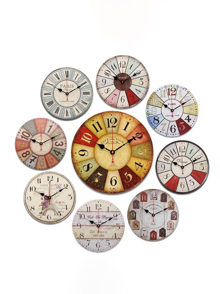 विंटेज ठाठ रेट्रो लकड़ी के गोल डिजिटल दीवार घड़ी सजावट उपहार देहाती रसोई