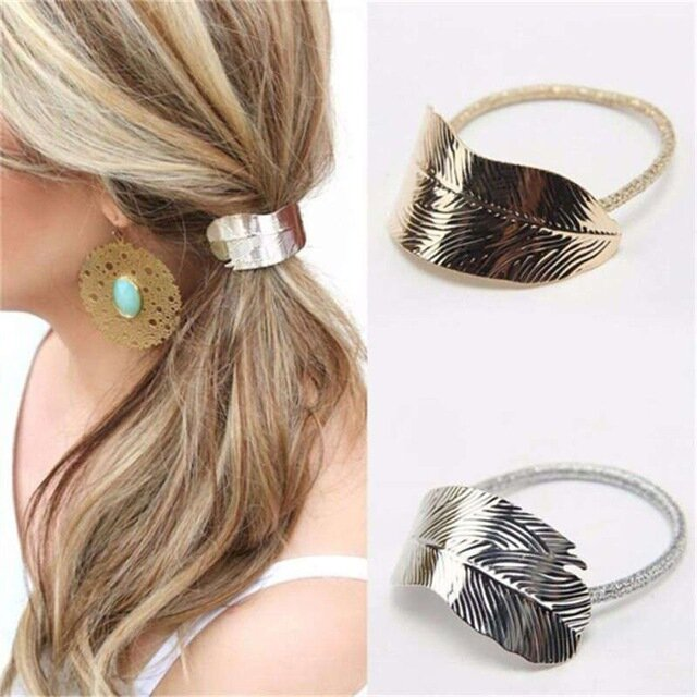 Fashion Leaf Hair Band Rope Hair Tie Elastic Ponytail Holder Hair Accessories for Women
