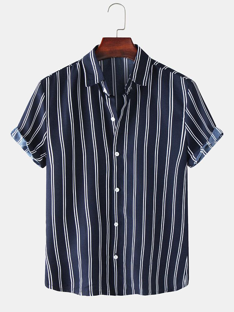 Mens Basic Stripes Print Loose Casual Light Short Sleeve Shirts