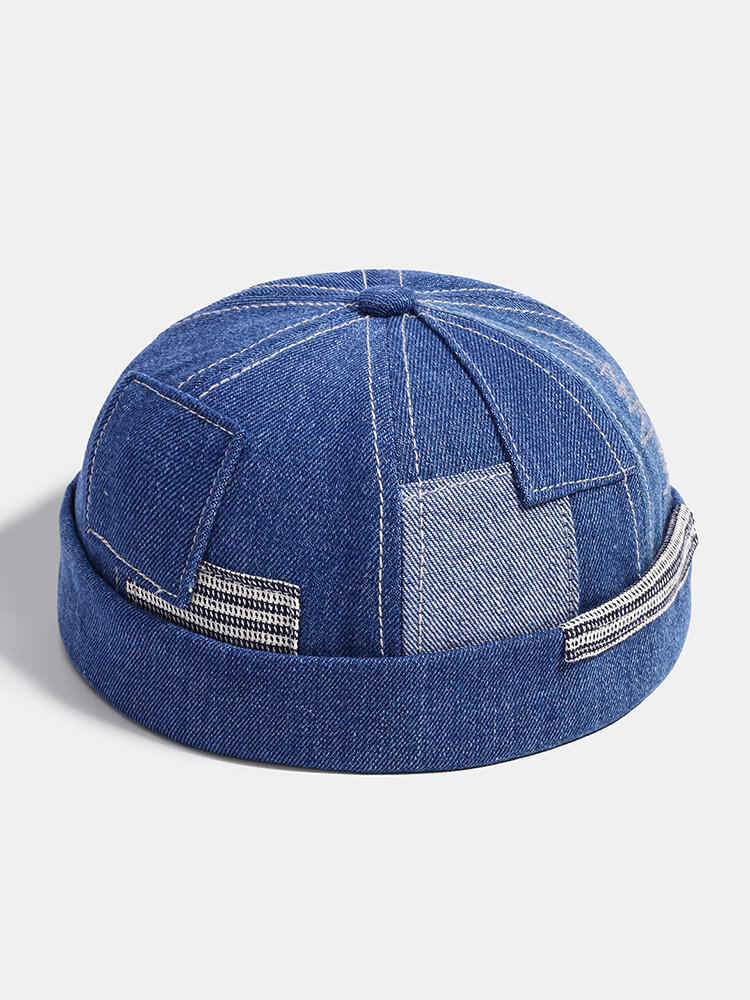 Men & Women Fashion Denim Pocket Patch Stitching Landlord Hat Skull Caps