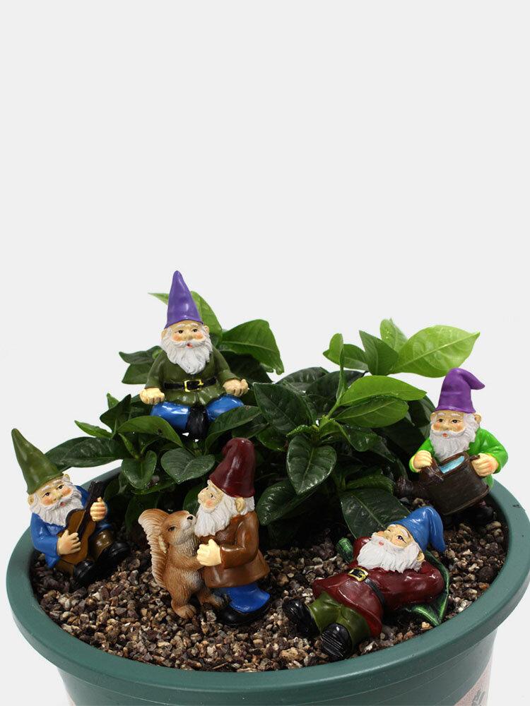 5PCSセットレジンフェアリーガーデンミニチュアノームドワーフ植木鉢ドワーフデコレーションヤード盆栽風景