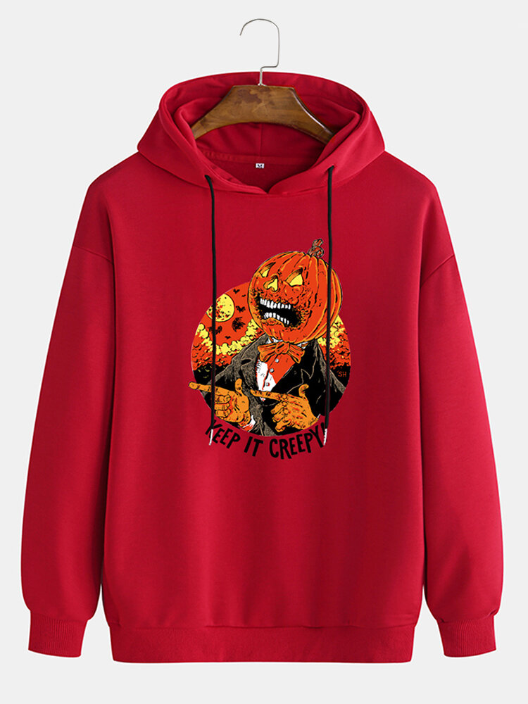 Mens Halloween Graphic Chest Print Cotton Casual Drawstring Pullover Hoodies