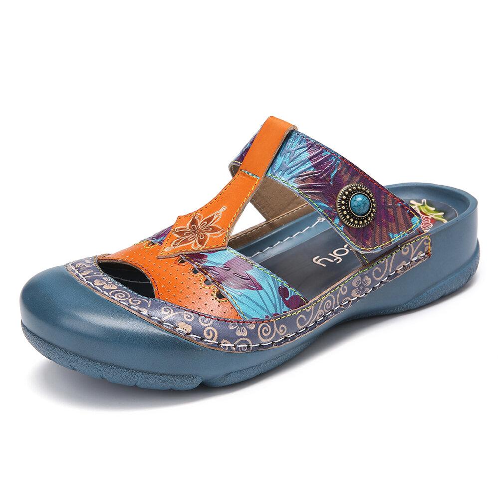 Leather Floral Cutout Adjustable Beaded Strap Slip-on Mules Flat Slides Sandals