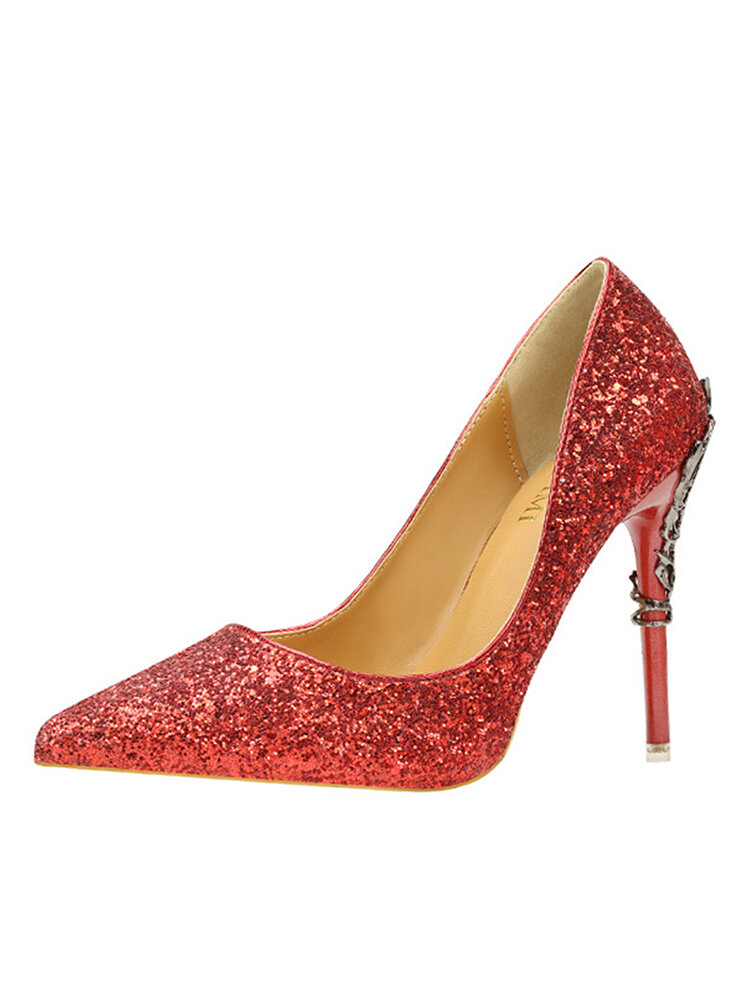 Women Sequined Solid Color Pointed Toe Fine Heels