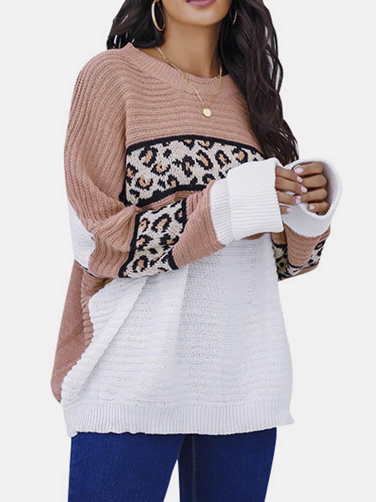 Women Contrast Color Print Patchwork Long Sleeve Casual Sweater