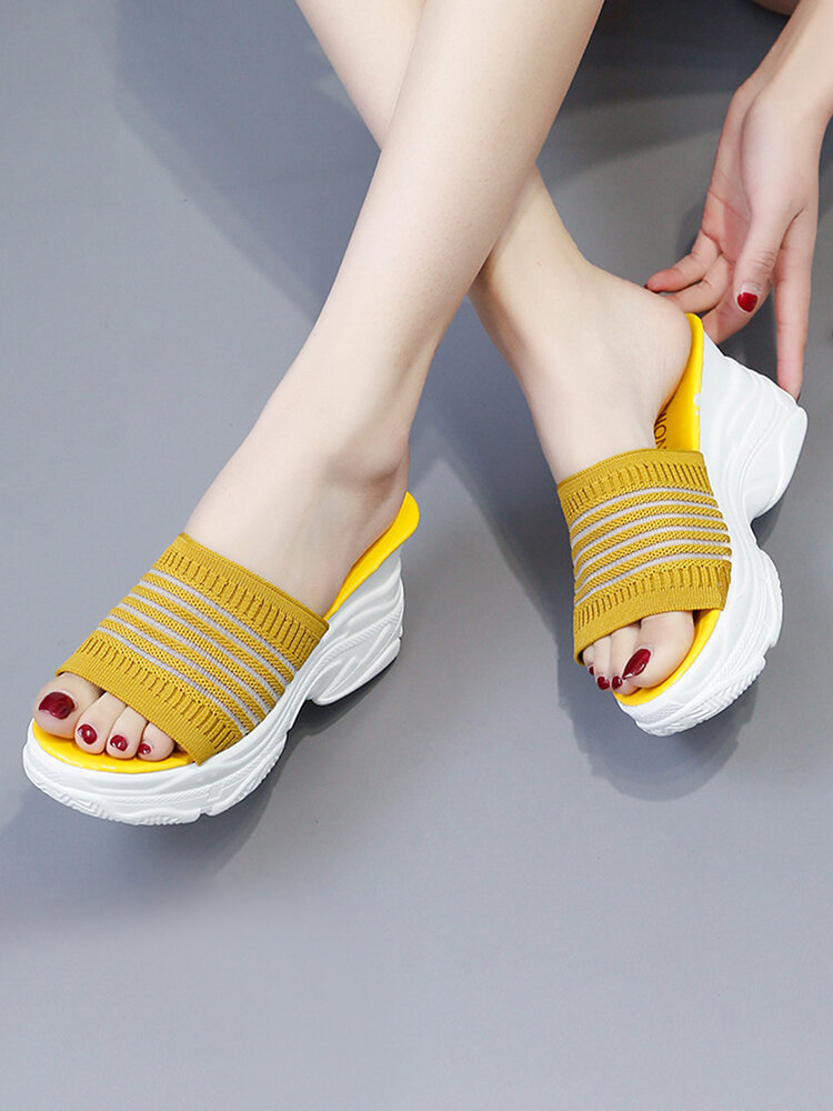 Women Knitted Fabric Soft Comfy Wearable Casaul Platform Wedges Slippers