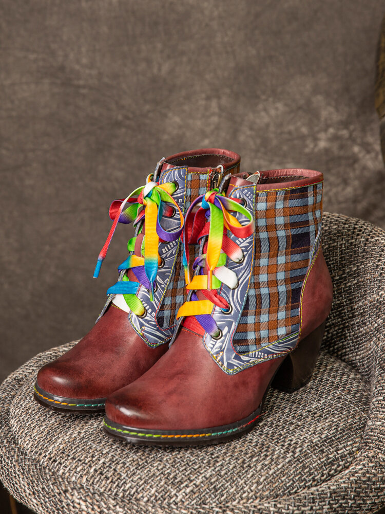 SOCOFY Retro Genuine Leather Lattice Splicing Comfy Colorful Shoelace Comfy Chunky Heel Short Boots