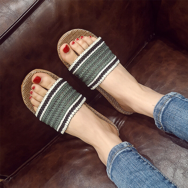 Women Knitted Strap Massage Sole Flats Home Slippers
