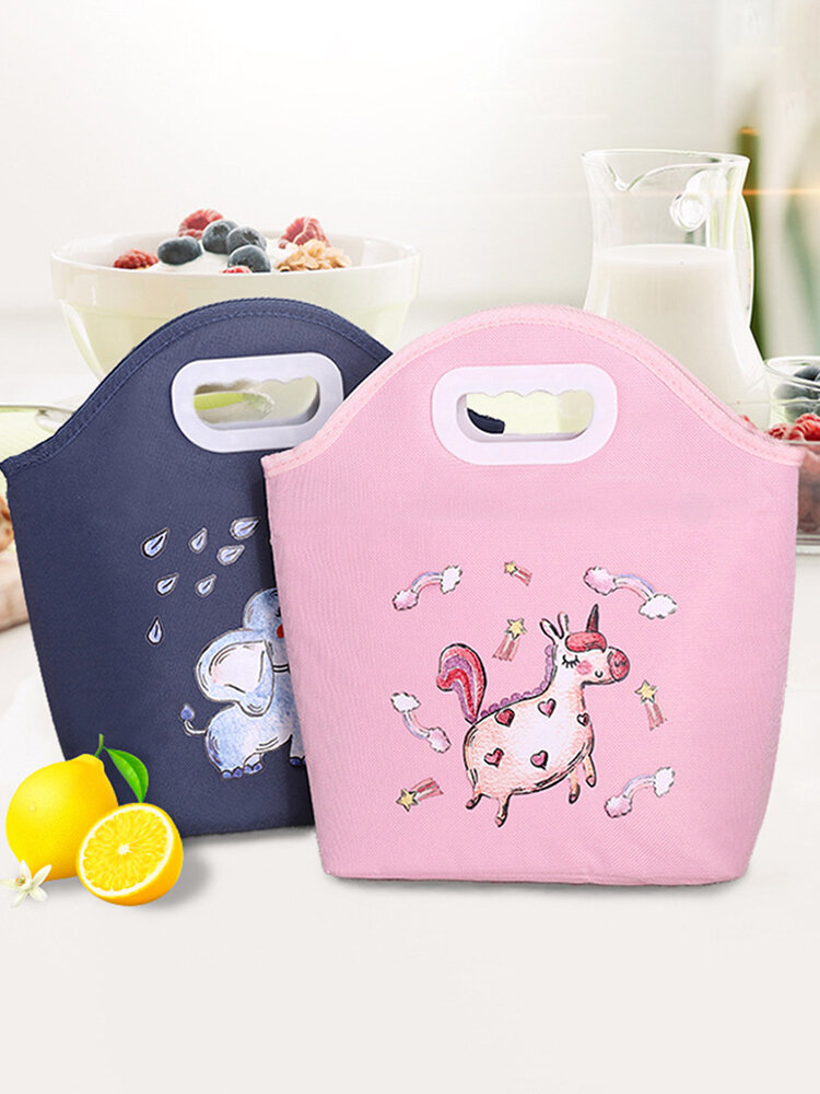 High Quality Oxford Cloth Round Hole Cartoon Digging Lunch Bag Portable Lunch Bag Multifunctional Lunch Bag