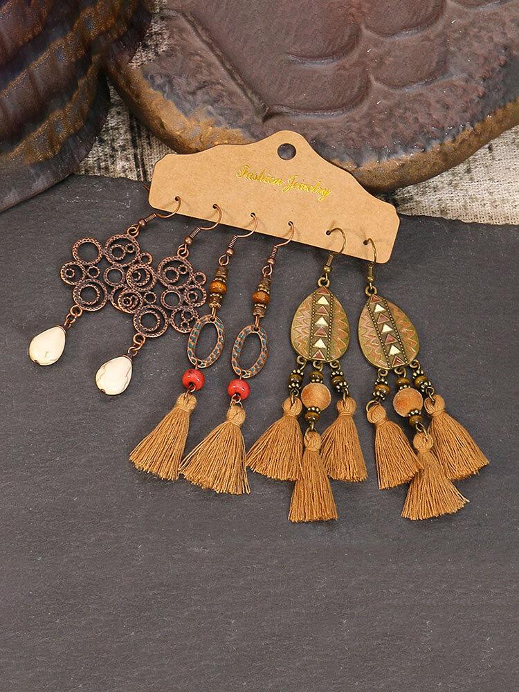 3 Pcs Bohemia Drop-Shape Women Earrings Set Tassel Pendant Earrings Jewelry Gift