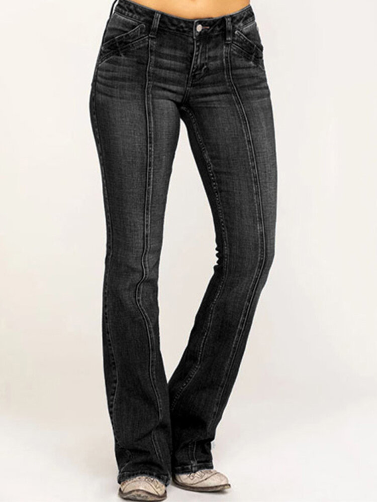 Solid Color Mid-waist Pockets Casual Jeans For Women