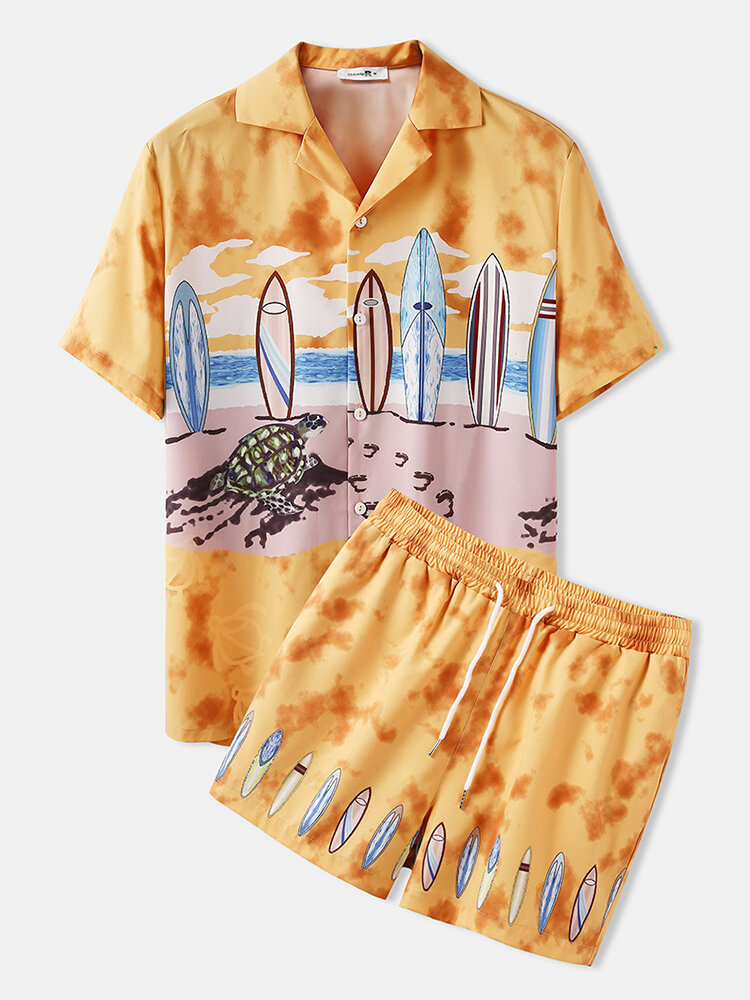 Holiday Tropical Hawaii Pattern Sets Two Pieces Outfits Short Sleeve Shorts with Loose Bottoms Beachwear for Men