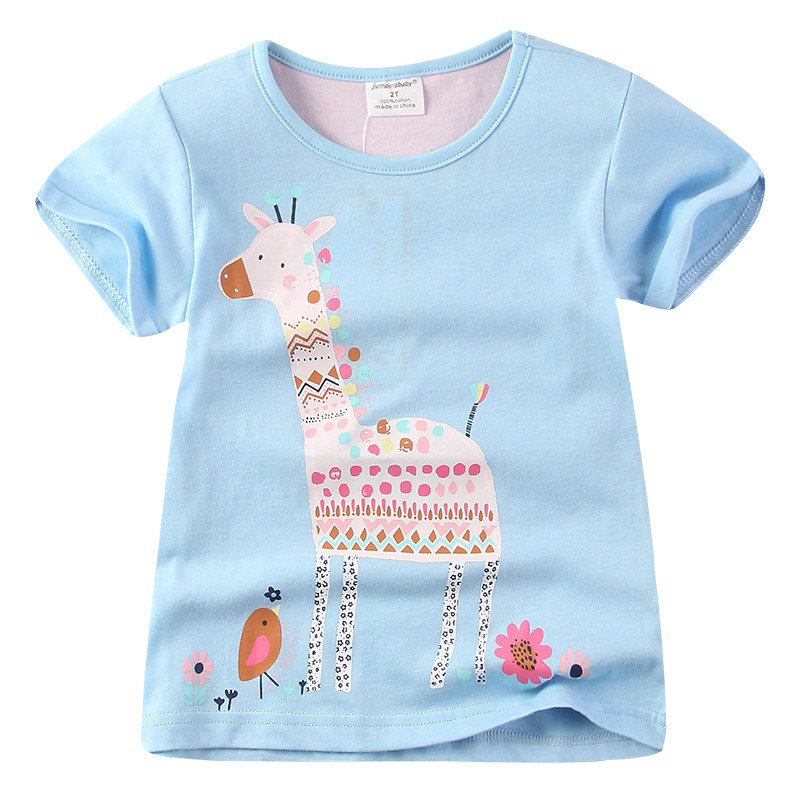 Cute Giraffe Pattern Girls Short Sleeve Graphic Cotton Tops T-shirt For 1Y-9Y