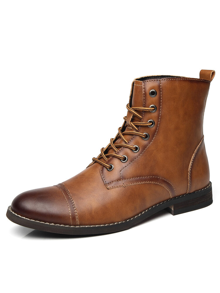 Men Retro Handmade Tight Stitched Cap Toe Leather Formal Dress Boots