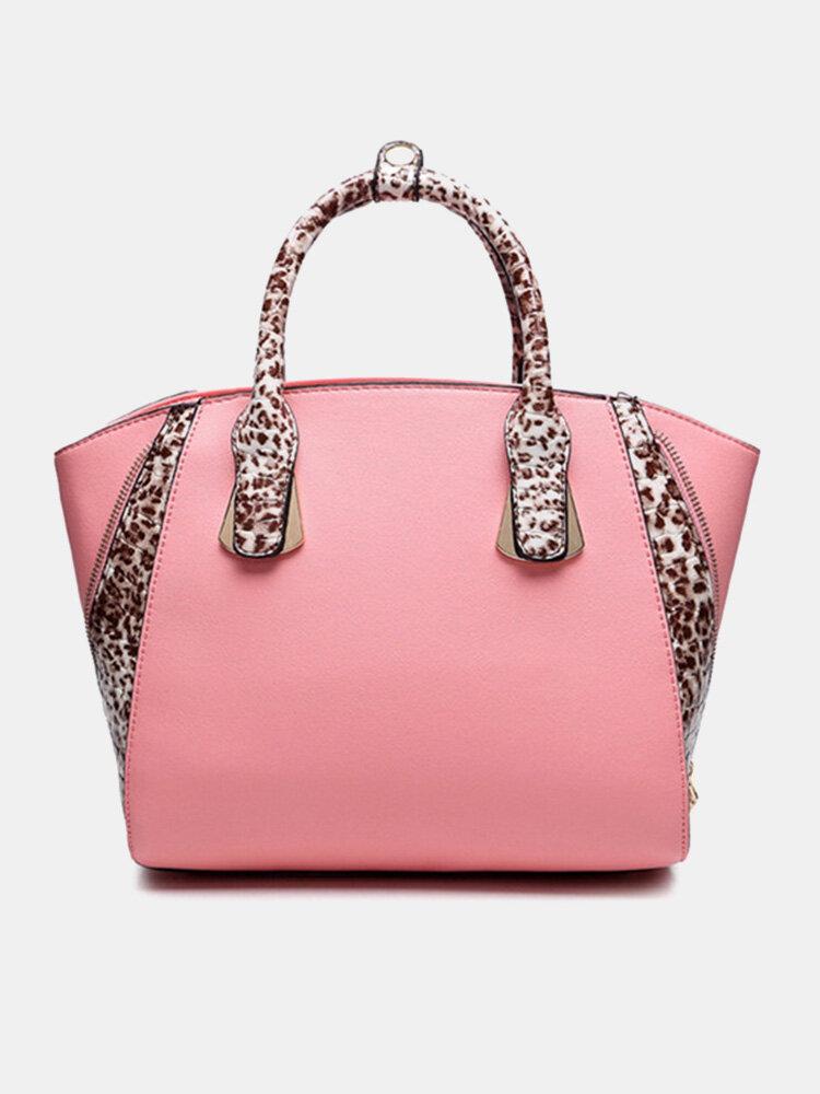 Fashion Women Leopard Print Bat Leather Handbag