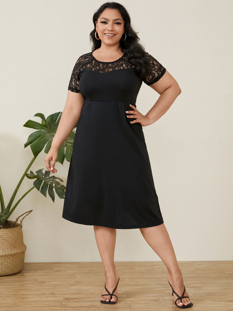 Lace Patchwork O-neck Short Sleeve Plus Size Casual Dress