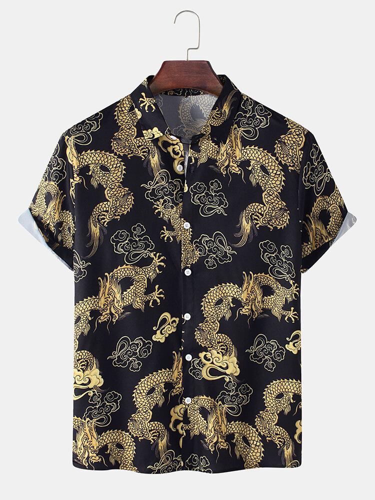 Mens All Over Golden Dragon Print Cotton Relaxed Fit Short Sleeve Shirts