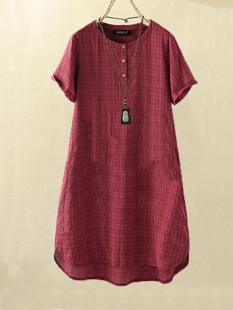 Vintage Solid Plaid Short-sleeved Loose Button Dress
