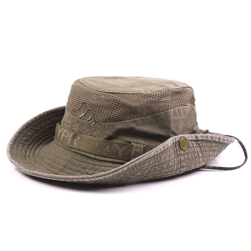 e7c5acca851c0f Mens Womans Cotton Embroidery Visor Bucket Fisherman Hat Foldable  Breathable Adjustable Chin Strap Cheap - NewChic