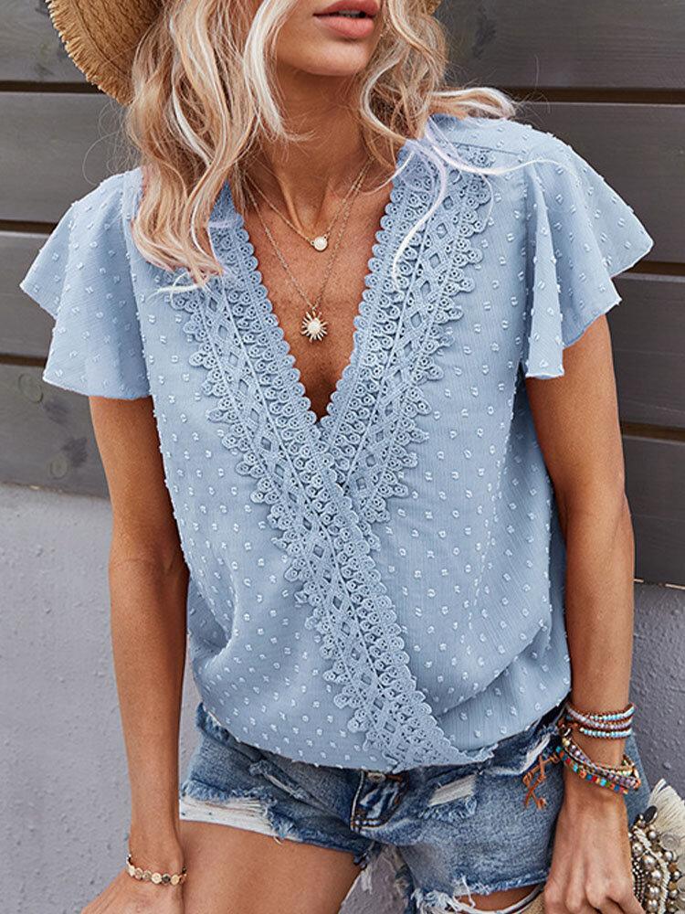 Lace Patchwork Solid Color V-neck Short Sleeve Blouse for Women