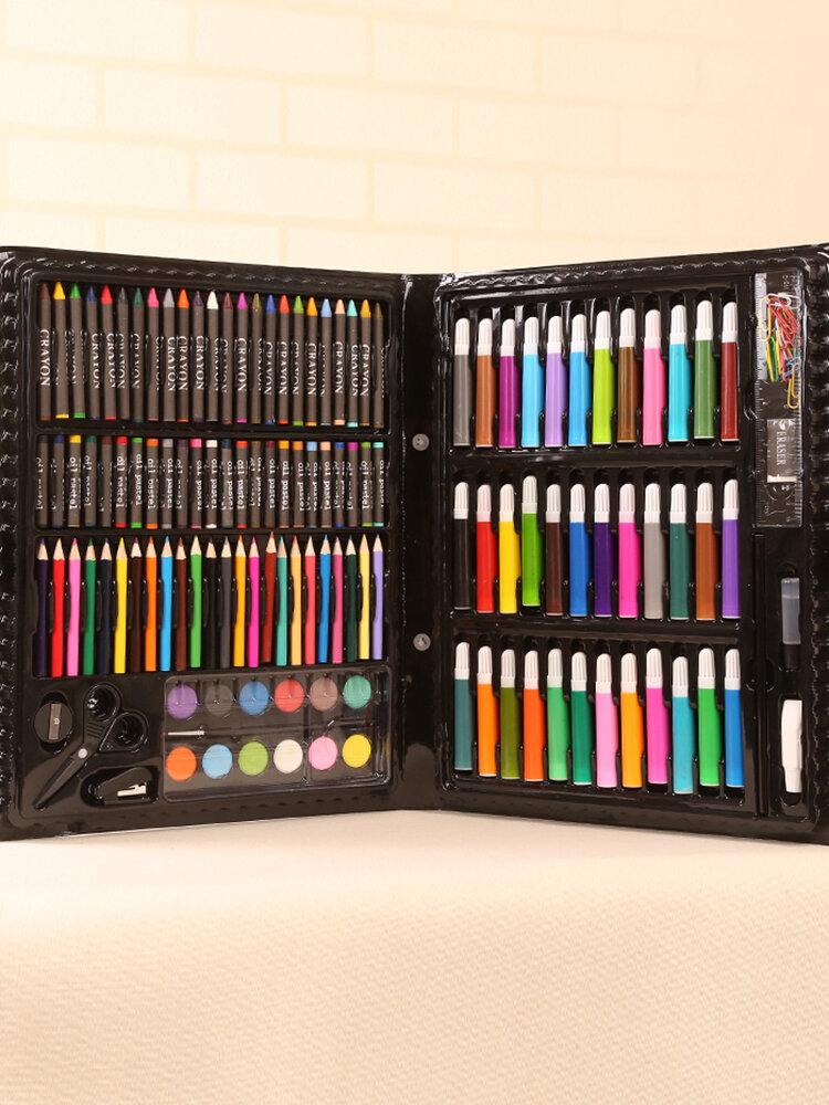150ピース子供学校色鉛筆アートセット描画絵画ツールクレヨン水彩ギフトボックスパッケージ
