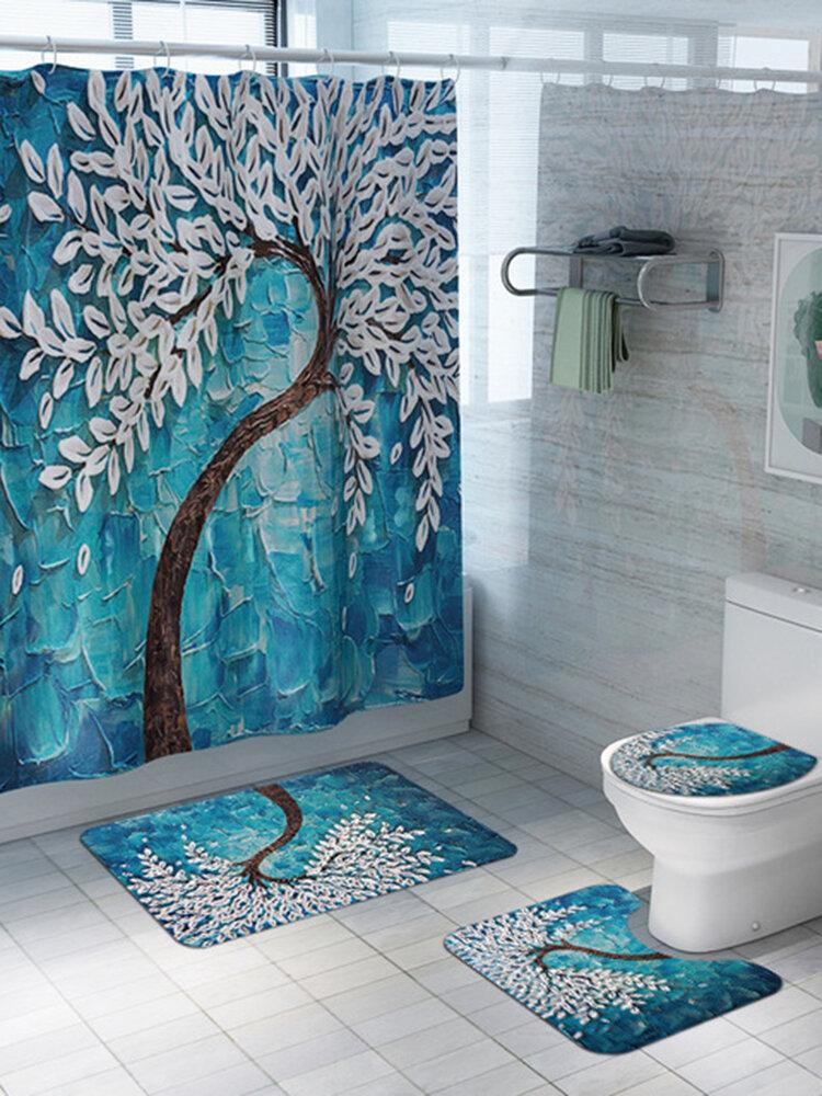 Rideau de douche de siège de toilette sculpté Ensemble de tapis de sol imprimés en quatre pièces Tapis de salle de bain antidérapant absorbant l'eau