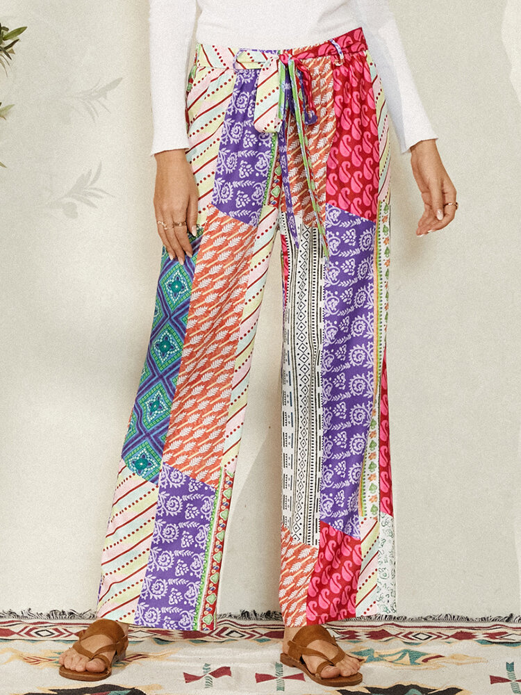 Vintage Ethnic Print Waistband Long Casual Pants for Women