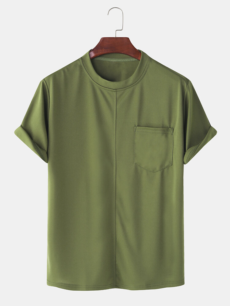 Mens Solid Color Chest Pocket Leisure Holiday Home Round Neck T-shirt