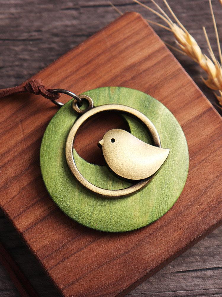 Collier vintage long à pendentif d'oiseau cercle en bois pour femme